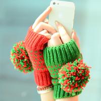 winter / lovely lady winter pure manual weaving upset warm feather fashion wool ball wool ball half gloves warm woolen mittens