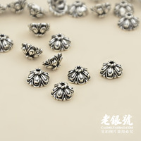 Thai silver 925 6.8mm thickening three-dimensional thalami pure silver diy bracelet necklace accessories b