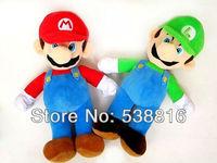 Free Shipping 9.8'' New Super Mario Bros. Stand MARIO & LUIGI 2 pcs/Lot Plush Doll Stuffed Toy Retail & Wholesale