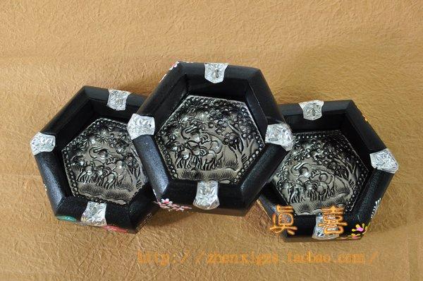 Home supplies tin mango wooden colored drawing hexagon memorial ashtray(China (Mainland))