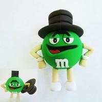 Wholesales New Cute Cartoon Fashion M&M Chocolates USB 2.0 Memory flash stick pen thumbdrive/gift/disk/car  1GB -32GB