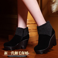 Free Shpping 2013 women's boots winter thermal wedges boots suede high-heeled boots snow boots b01
