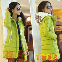 2013 autumn and winter new arrival women's medium-long thickening down cotton-padded jacket female
