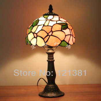 "Tiffany Style Flower Table Lamp Handedcrafted  Lamps Stained GlassLighting Smass Size Lampshade 8""W Bedside Lamp Gift Lamp"