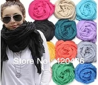 Wholesale New Hot Girl Women's Large Cotton Linen Long Crinkle Scarf Wraps Shawl Colorful Candy