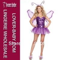 Purple Butterfly Lilac Fairy Dress & Wings Deluxe Fancy Party Costume