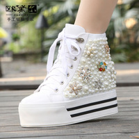 Autumn and winter genuine leather platform women's shoes high lacing pearl casual platform shoes high-top shoes