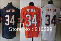 free shipping elite blue orange white Chicago Walter Payton jersey 34# number name are sewn on man 40 - 56 m l xl xxl xxxl