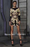 2013 New Fashion Top Quality Elegant Black HL Long Sleeve Bandage Dress Evening Dresses Celebrity Prom Garments Party Gown