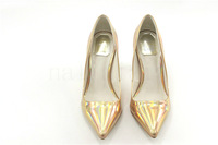 2013 New Laser sheep patent leather shoes with a single thin beak thick leather high-heeled pumps shoes