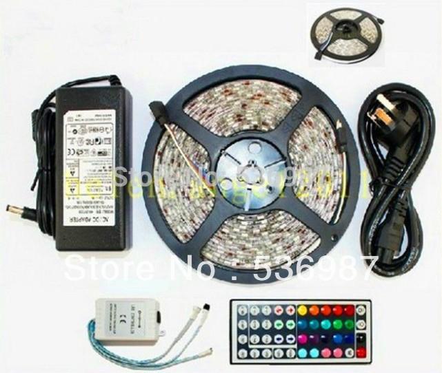 New 10M 3528 300 LED RGB Waterproof light strip + 44 Key Free IR Remote+5A power(China (Mainland))