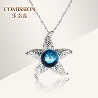Transhipped cute double colored glaze silver pendants female necklace