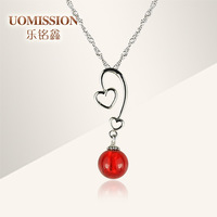 Double 925 pure silver pendants female colored glaze necklace