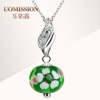 New arrival double four leaf clover fresh fashion colored glaze necklace 925 pure silver pendants female