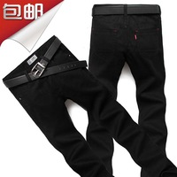 2013 male black jeans casual trousers straight trousers