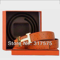 Free shipping 2014 new autumn and winter fashion leather ostrich leather H-shaped metal buckle men's belt