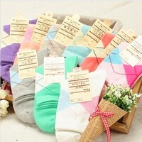 free shipping Candy color women's cotton socks dimond plaid socks knee-high sock cotton socks 1lot=5pairs