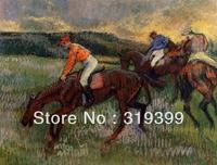 Oil Painting Reproduction on Linen Canvas,Three Jockeys by Edgar Degas,Free DHL FAST Shipping,100%handmade