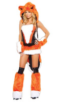 2013 Hot Girl Furry Fox Costume Sexy Stretch Party Dress Up Animal Cospaly Fancy Dress Suit Orange Coreset+mini Skirt A1283