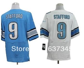 Free Shipping New Detroit Men's Football Jerseys 9 Matthew Stafford Blue White Elite Jerseys