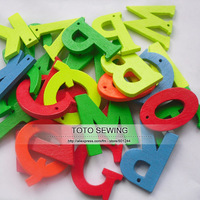 Min.order is $12 (mix order),colorful English letters shaped flatback wood buttons,size 22mm,100pcs/lot,T2018650,free shipping