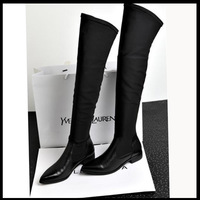 Free Shipping 2013 high-leg boots cowhide boots pointed toe flat heel elastic over-the-knee shoes fashion