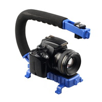 C shape handle grip support video stabilizer flash bracket Holder for DSLR DV camcorder camera FREE SHIPPING