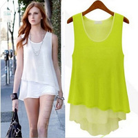Candy color loose Fake two piece Double layer chiffon Condole belt vest clothing for women