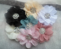 Free shipping!60pcs/lot 8.5cm 19colors metal rhinestone button center chiffon flower baby hair headband garment DIY accessory