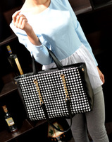 2013 black-and-white knitted embroidery plaid chain women's handbag shoulder bag casual elegant handbag