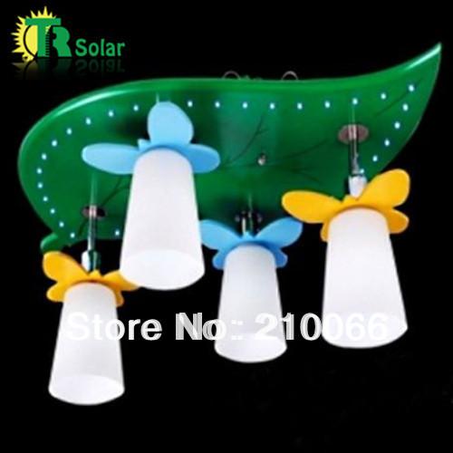 Free shipping E14*4 lighting Leaf light Cartoon Droplight Children Pendant Lamp For Child's room(China (Mainland))