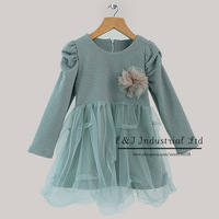 2014 New Year New Arrival Girls Dresses Pure Blue Cotton Dresses With Lace Girls Causal Dresses Hot Seller GD31011-14