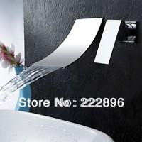 Copper Sink Chrome Bathroom Waterfall Faucet Wall Mount Bathroom Mixer Wall Water Tap Torneira Bathroom Banheiro grifo Lavabo