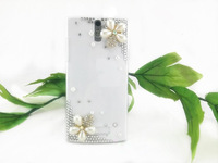 10pcs For OPPO X905 Find 5 Customized Luxury Elegant Diamond Bling Pearl Flower design Hard Case Cover free shipping