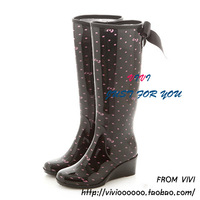 Fashion zipper wedges gaotong high-heeled boots rainboots water shoes black powder