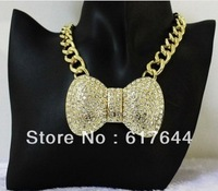 Hip Hop 2014 New Gold Tone Chunky Chain Full Rhinestoned Big Bow Necklace With Clear Crystal