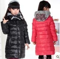 Retail 1 pcs children medium-long duck down coat outwear baby girl winter jacket New High quality free shipping CCC255