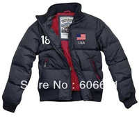 free shipping New men's down jacket winter coat high quality outdoor clothing #18 USA flag Zipper overcoat