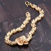 "Filigree Flower 18k Yellow Gold Filled GF Womens Girls Bracelet Chain 6.9"" Free shipping"