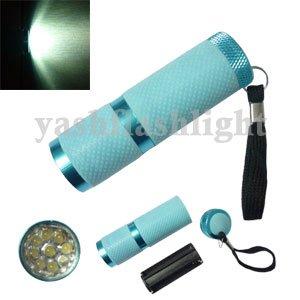 freeshipping 10pcs/lot 9 LED Fluorescence Torch Light aluminum Flashlight Camping lamp(China (Mainland))