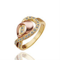 18KGP R258 Weave 18K Gold Plated Ring Health Jewelry Nickel Free K Golden Plating Platinum Austrian Crystal SWA Element
