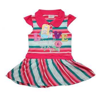 2013 New design (2colorss) 6pcs/lot baby cute dresses, baby girls striped dress,100% Cotton kids frock,1-6years baby wear
