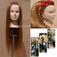 Free Shipping Mannequin Maniqui 100% High Temperature Hair Fiber Training Female Mannequin Head With Hair