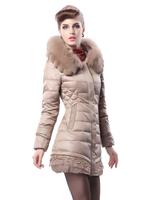 2014 New Women's Down Jacket Women Vlsivery Large Raccoon Fur Thickening Medium-long Winter Jacket Coat Plus Size M-XXL 5Colors