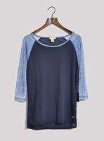 Fashion autumn thin water wash retro finishing color block three quarter sleeve baseball shirt t-shirt basic shirt female