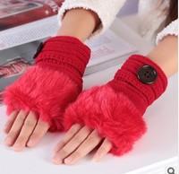 NEWS Women's wool winter warm gloves mitts plus burrs button half-finger gloves cute gloves
