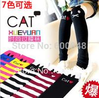 2013 NEW Girls CAT design knee high socks girl hose socks kids cotton stocking 2-8ages 7colours ,bc249
