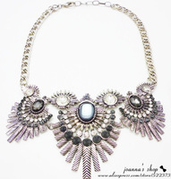 Fashion Exaggerated Punk Design Antique Silver Chains Crystal Flowers Statement Choker Necklace Vintage Fringe Necklace