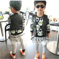 2013 ! children's clothing black rivets turn-down collar leather vest male vest child cool all-match