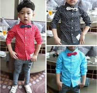 2013 children's clothing hot-selling all-match child long-sleeve shirt male child casual polka dot shirt